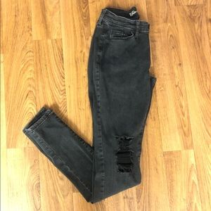 Black Universal Thread Ripped Curvy Skinny Jeans